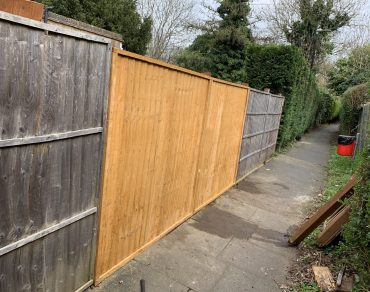 wooden fence after repair