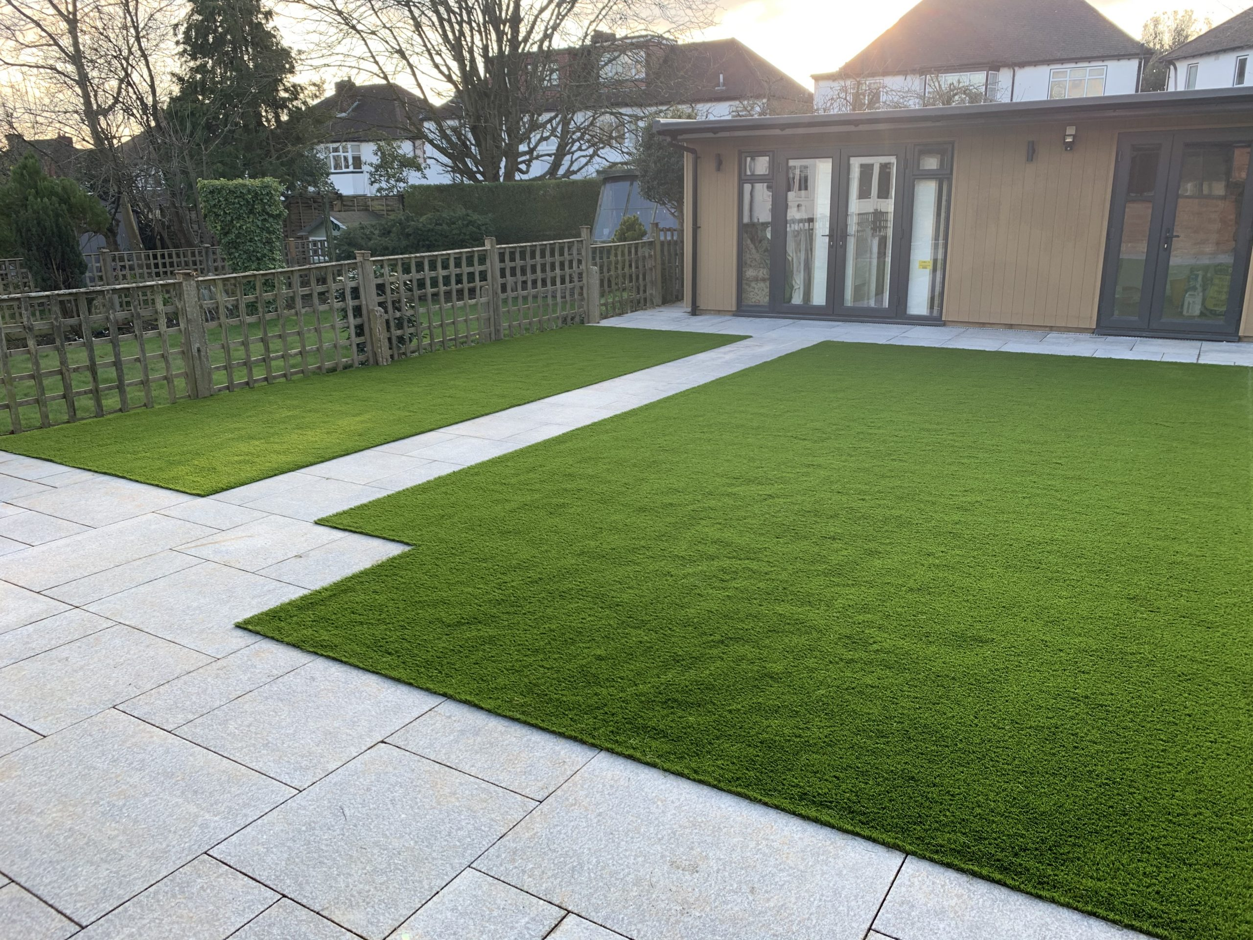 new look of the garden with artificial grass
